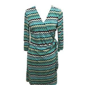 Emma Michele Size S Wrap Dress Chevron Blue Midi